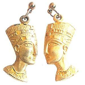 VINTAGE Egyptian Revival Queen Nefertiti Earrings